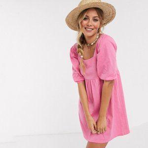 ASOS DESIGN puff sleeve pink dress NWT US6
